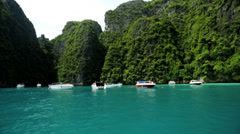 Natures sheer limestone karsts, Phi Phi Island, Thailand Stock Footage