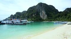 White sandy beaches Limestone cliffs, Phi Phi Island, Thailand - stock footage