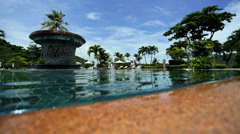 Close up pool water view tourist resort Southeast Asia - stock footage