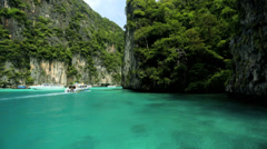 Natures sheer limestone karsts, Phi Phi Island, Thailand - stock footage
