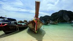 Wooden Long tail boat, Phi Phi Island, Thailand Stock Footage