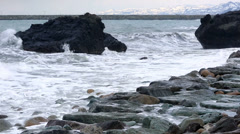 storm waves crash against the rocks - stock footage