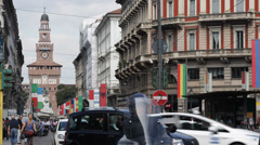 Cordusio Square Cars Motorcycle Passing Milan Sforzesco Castle Day Expo 2015 Stock Footage