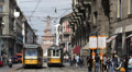 Old Tram Station Vintage Tramway Passing Milan Sforzesco Castle People Waiting Footage