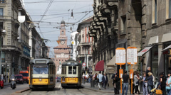 Old Tram Station Vintage Tramway Passing Milan Sforzesco Castle People Waiting Stock Footage