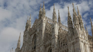 Stock Video Footage of Famous Architecture Landmark Duomo Milano Gothic Cathedral Church Milan Italy