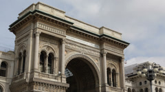 Milan Italian Architecture Vittorio Emanuele Gallery II Exterior Building Facade Stock Footage