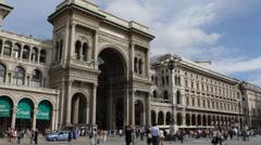 Pedestrians Passing Vittorio Emanuele II Gallery Exterior Milan Duomo Square Day Stock Footage