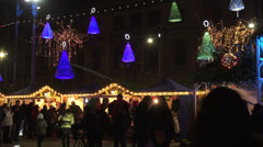 Traditional Christmas market by night, Christmas time, holidays Stock Footage