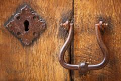 old doorhandle and lock - stock photo
