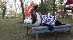 Rama ix park festival 2013 - Cartoon costume - (62) - stock footage