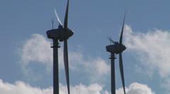 Wind turbines closeup Stock Footage