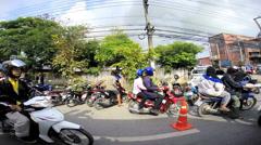 Motorized street transport Phuket town, Thailand, Asia - stock footage