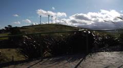wind turbines on a hill - stock footage