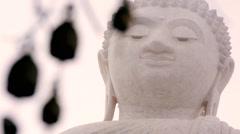 Prayer chimes blurred focus Buddha Statue, Thailand - stock footage
