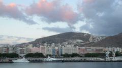 Pan of santa cruz waterfront and hillside, Tenerife, Spain Stock Footage
