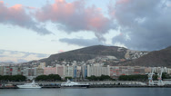 Stock Video Footage of pan of santa cruz waterfront and hillside, Tenerife, Spain