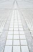 brick pavement road - stock photo