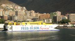Fred olsen express inter island ferry departs santa cruz, tenerife Stock Footage