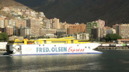 Stock Video Footage of fred olsen express inter island ferry departs santa cruz, tenerife