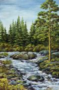 Mountain small river - stock illustration