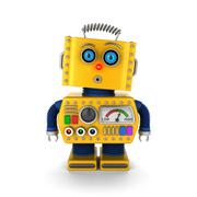 Vintage toy robot with surprised facial expression - stock illustration