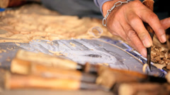Thai wood carver, Thailand Stock Footage