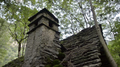 Old ruined building lost on the Italian Swiss Alps near Locarno. Stock Footage