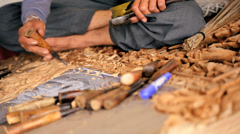 Thai wood carver, Thailand Stock Footage