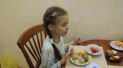 Young girl house eats ecologically clean food. Stock Footage