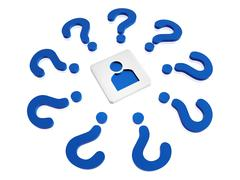Person sign with blue question-marks Stock Illustration