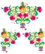 Tropical Floral Borders - Retro - stock illustration