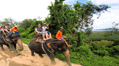 Elephant carrying tourists, Phuket, Thailand - stock footage