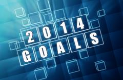 new year 2014 goals in blue glass blocks - stock illustration