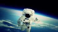 Stock Video Footage of Astronaut on Space Walk with Shuttle