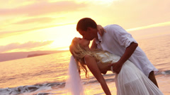 Happy romantic bride and groom, sunset wedding on tropical beach, hd video Stock Footage