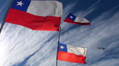Windy Chilean Flags Stock Footage