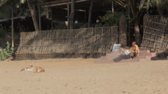 Indian man reading newspaper on steps on beach in India + two lazy dogs napping Stock Footage