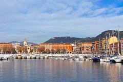 view on port of nice, french riviera, france - stock photo