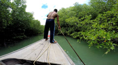 Thai boatman navigating Mangrove forest, Southeast Asia Stock Footage