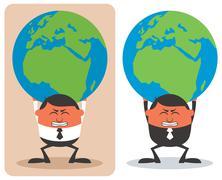 Businessman Holding Earth - stock illustration