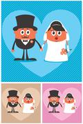 Groom and Bride - stock illustration