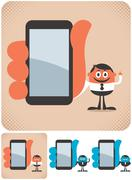 Holding Smartphone - stock illustration