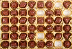 variation of chocolate candy in the box - stock photo