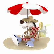 The 3d dog on a beach has a rest. Stock Illustration