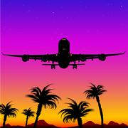 Airplane Landing On Tropical Island Stock Illustration