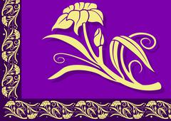 Violet Floral Border Stock Illustration