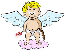 cupid with bow and arrow - stock illustration
