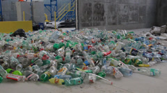 Waste processing - plastic bottles at recycling center. 3 Stock Footage