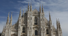 Ultra HD 4K UHD Duomo Dome Milan Famous Cathedral North Italy Skyline Cityscape Stock Footage